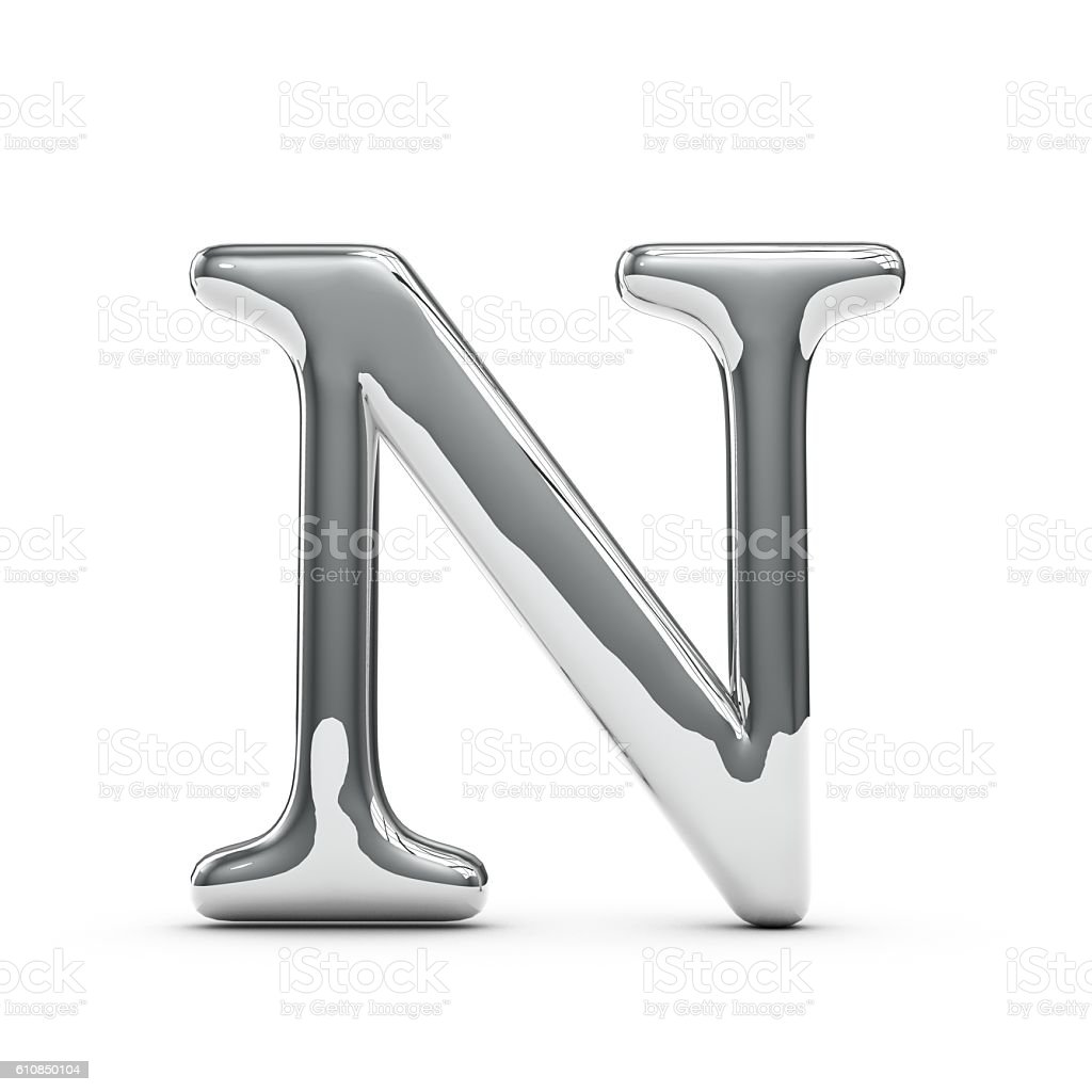 Silver chrome Capital letter N stock photo