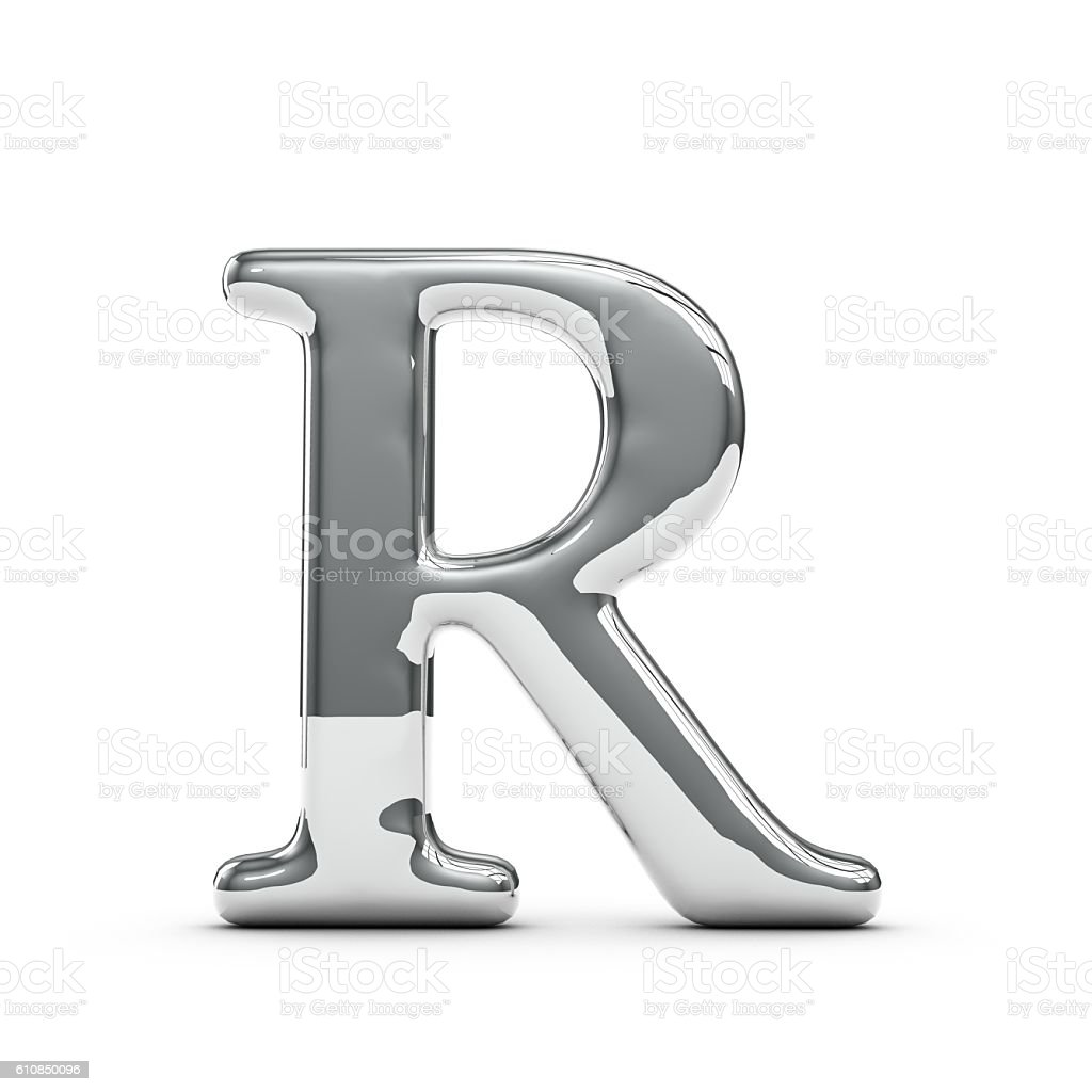 Silver chrome Capital letter R stock photo