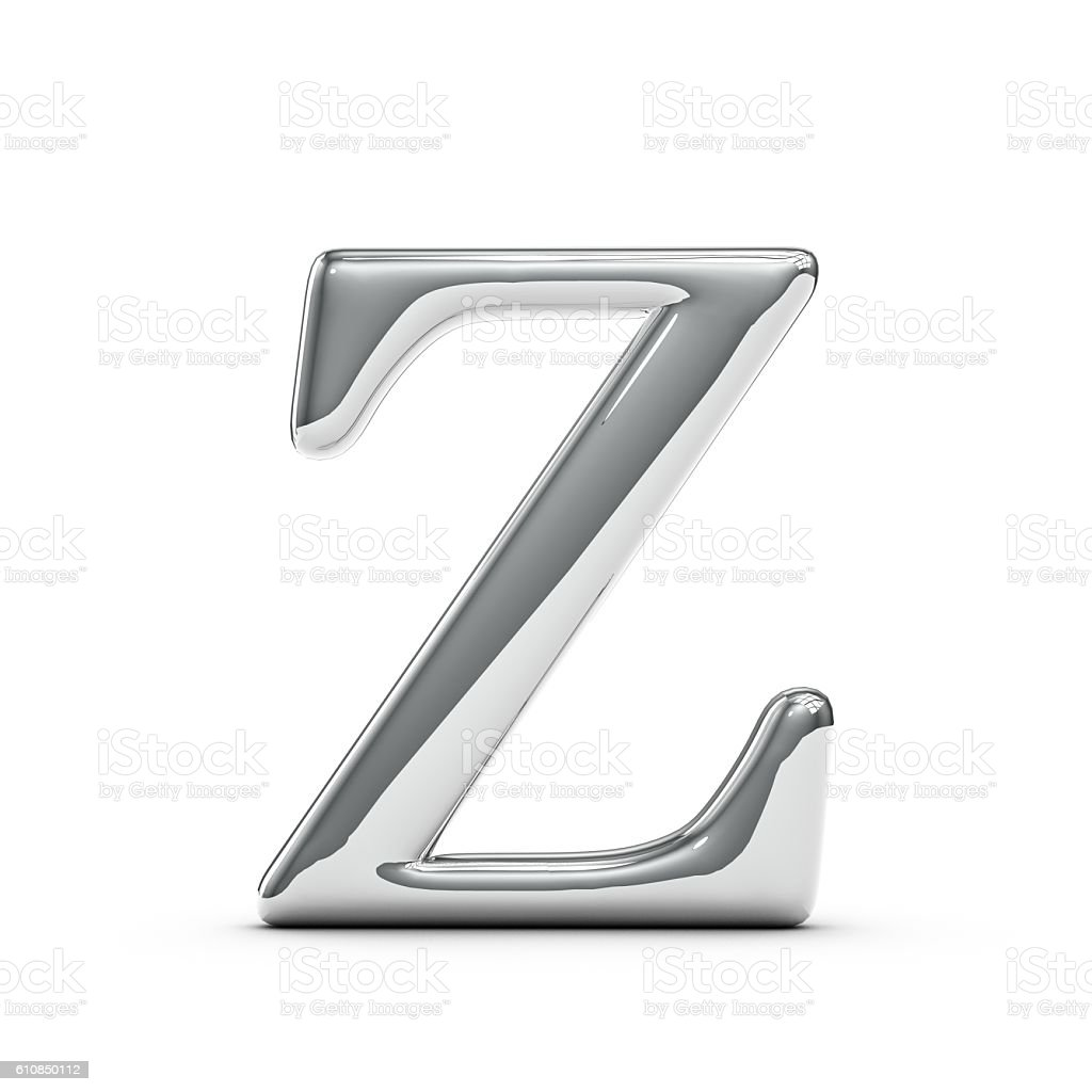 Silver chrome Capital letter Z stock photo