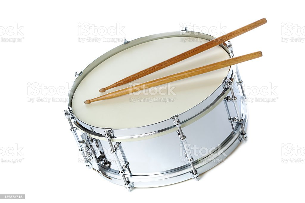 Silver Chrome Snare Drum with Sticks, Instrument on White Background stock photo