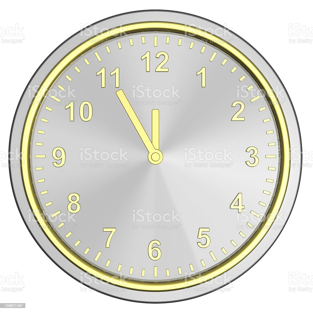 Silver clock isolated on white stock photo