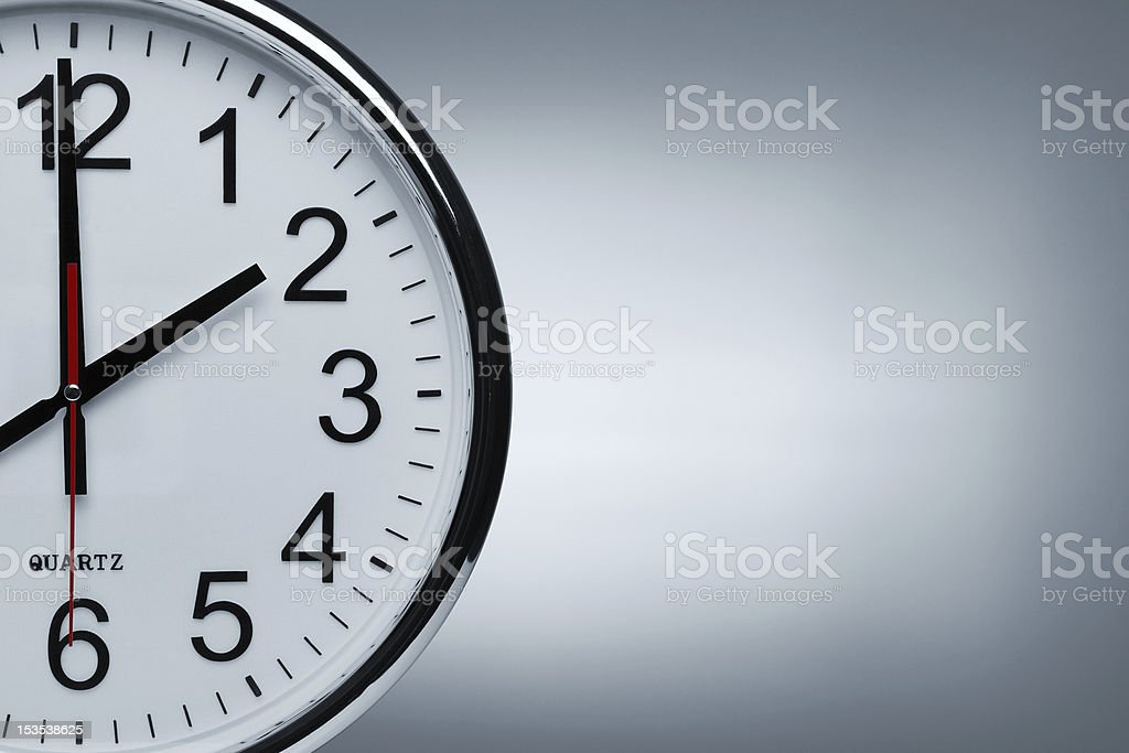 Silver clock with copy space stock photo