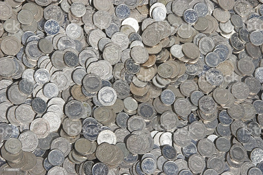 Silver coin background stock photo