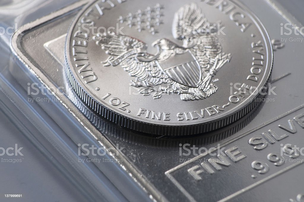 Silver Coin Bullion royalty-free stock photo