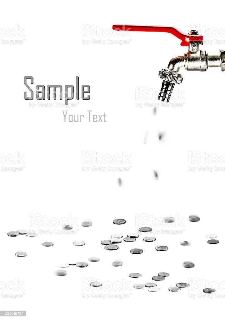 silver coin coming out of faucet stock photo
