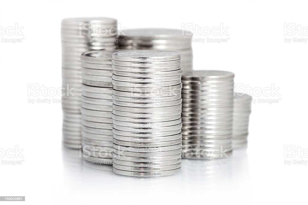 silver coin stack isolated on white royalty-free stock photo