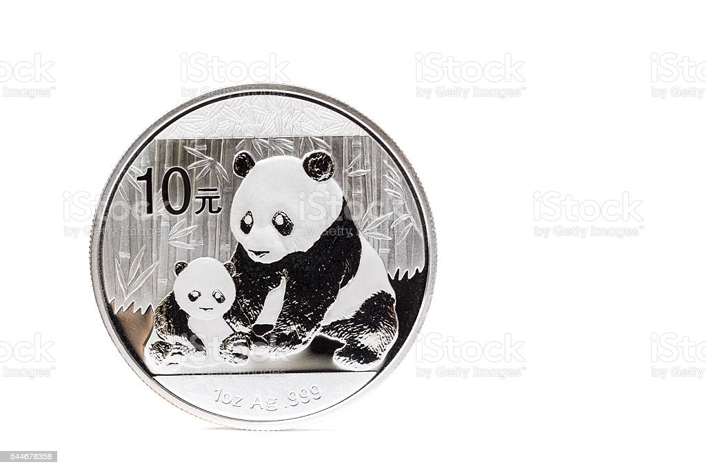 Silver coin with mother and child panda stock photo