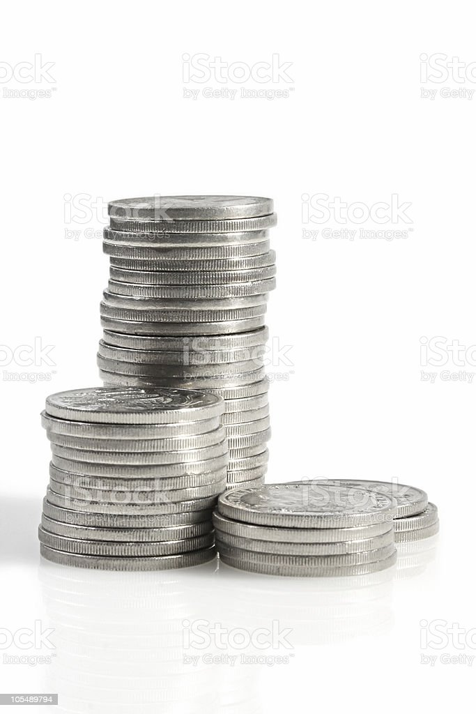 Silver Coins stock photo