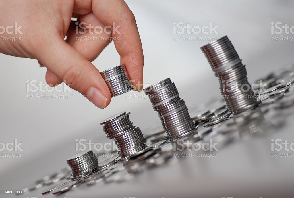 Silver coins royalty-free stock photo
