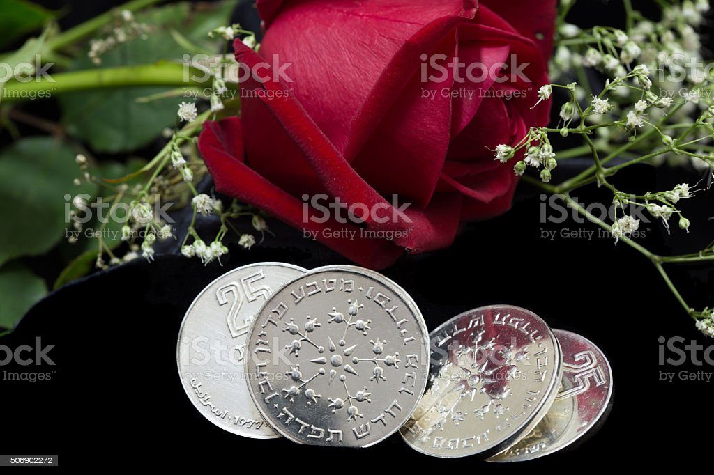 Silver coins, Pidyon Haben ceremony. Jewish ceremony firstborn baby stock photo
