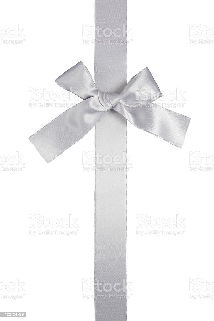 silver colore vertical ribbon with bow, isolated stock photo