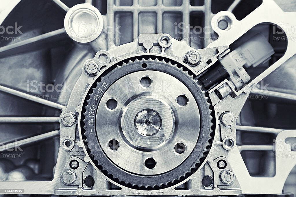 Silver colored car engine gear royalty-free stock photo