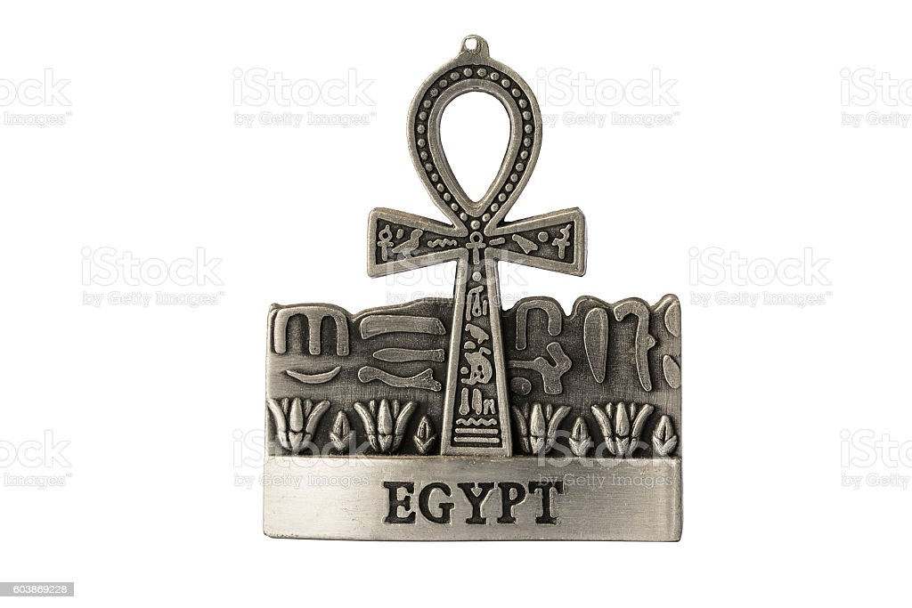 Silver colored Egyptian symbol of life Ankh with Egypt label stock photo