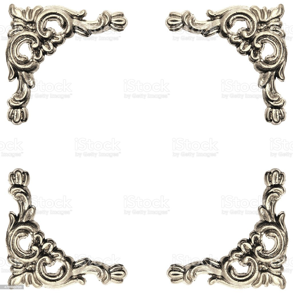 silver colored elements of baroque carved frame stock photo