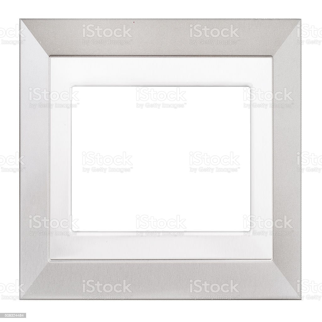 Silver coloured square textured picture frame isolated on white stock photo