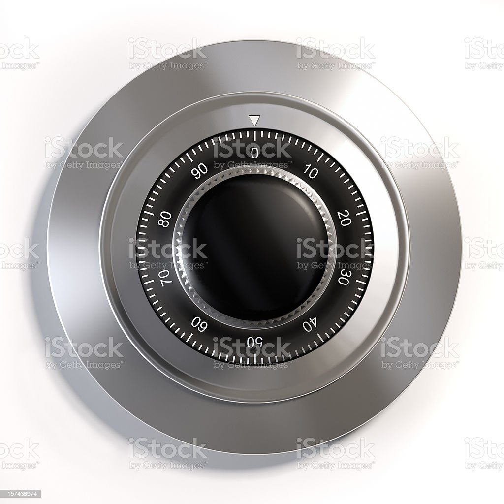 A silver combination lock for safety protection stock photo