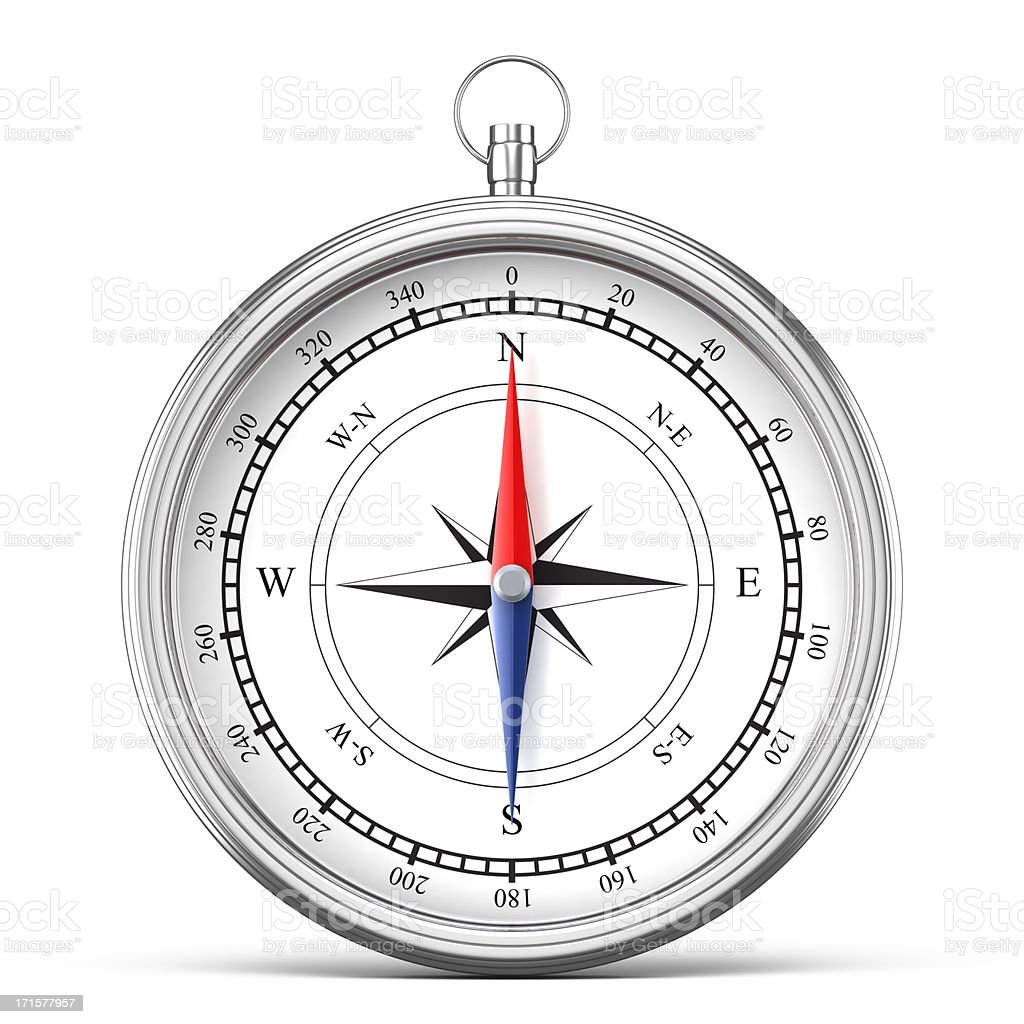 Silver compass isolated on white stock photo