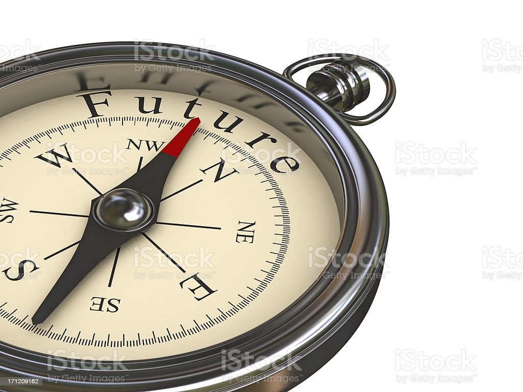 Silver compass with Future in the North royalty-free stock photo