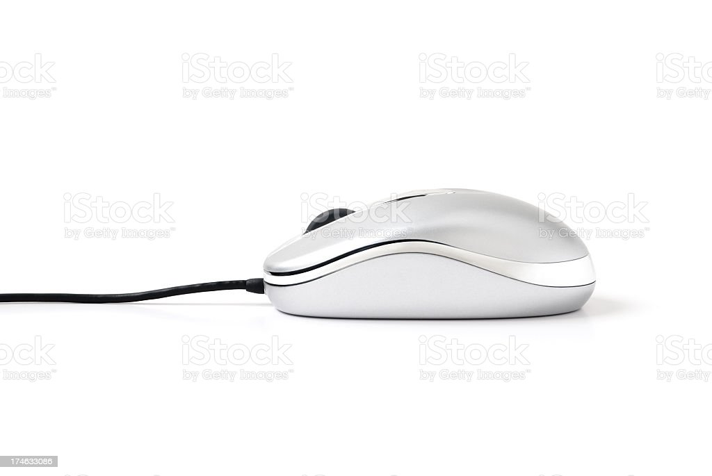 A silver computer mouse on a white background stock photo