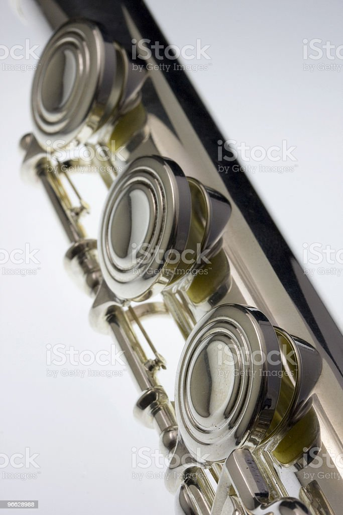 silver concert flute detail royalty-free stock photo