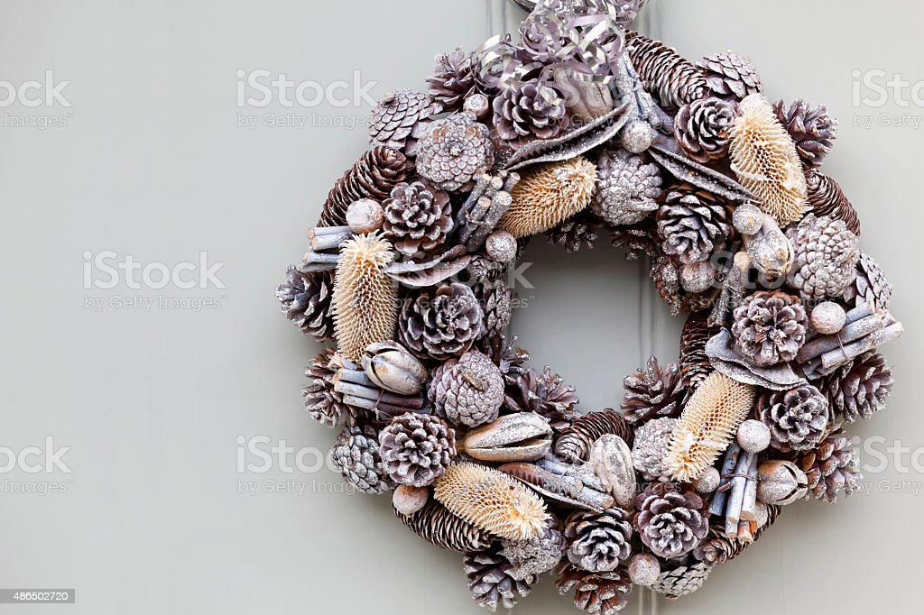 Silver Cone and Teasel Christmas Wreath stock photo