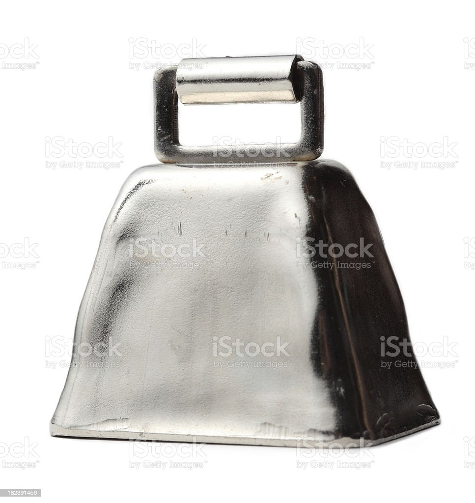 Silver cow bell on white stock photo