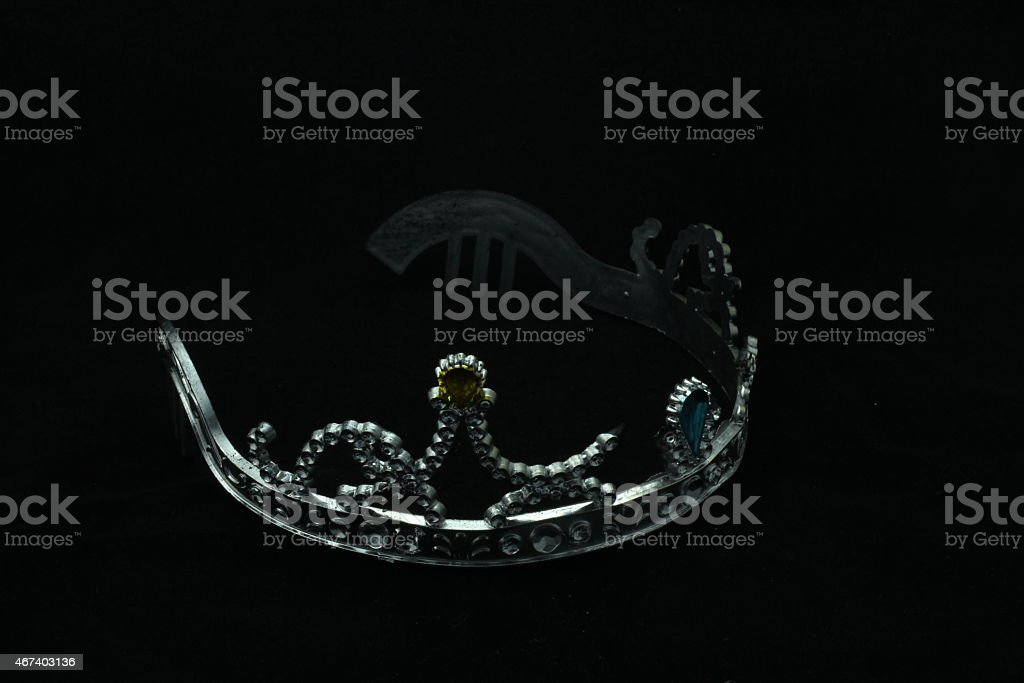 silver crown on blackboard stock photo