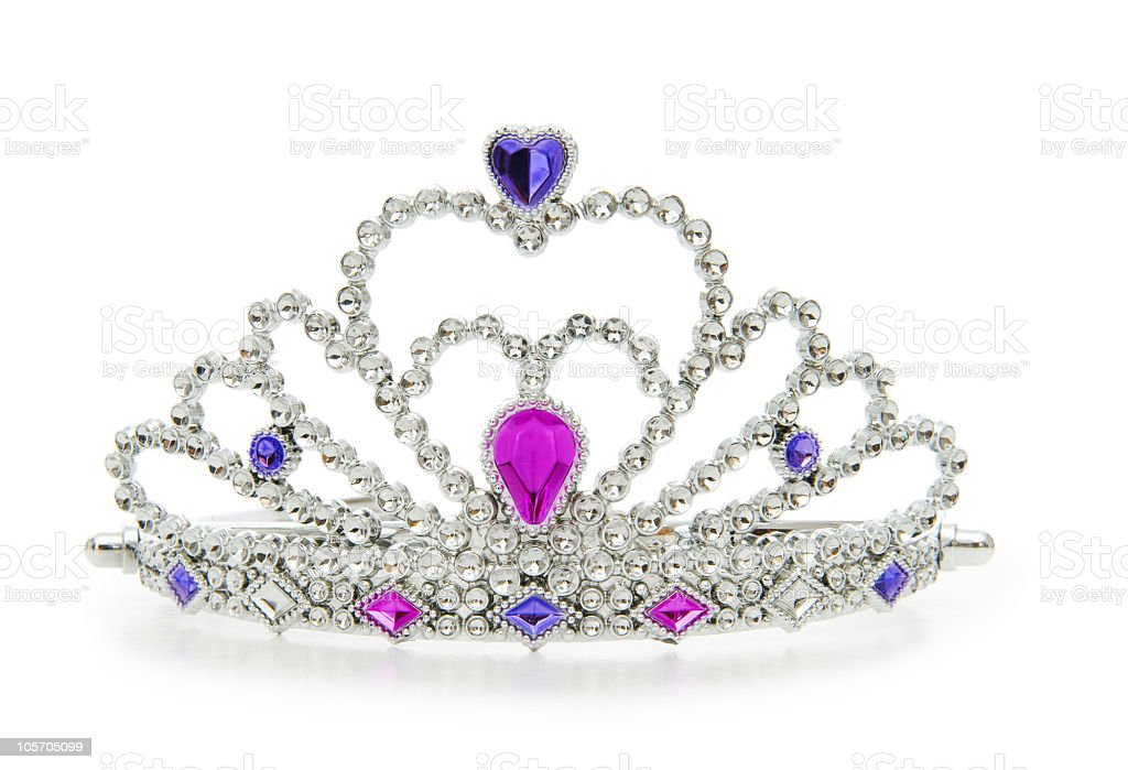 A silver crown with jewels on a white background stock photo