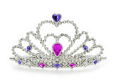 A silver crown with jewels on a white background