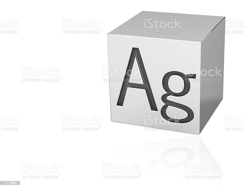 Silver cube with Ag mark stock photo