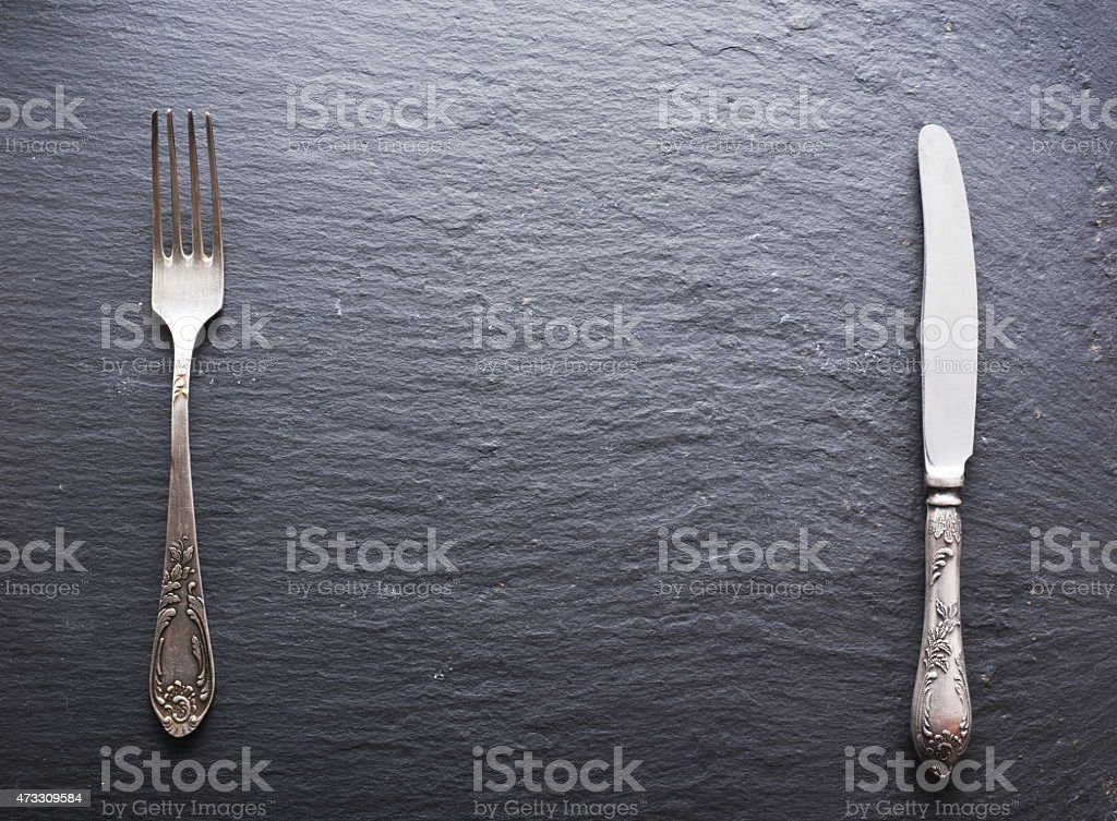 Silver cutlery. stock photo
