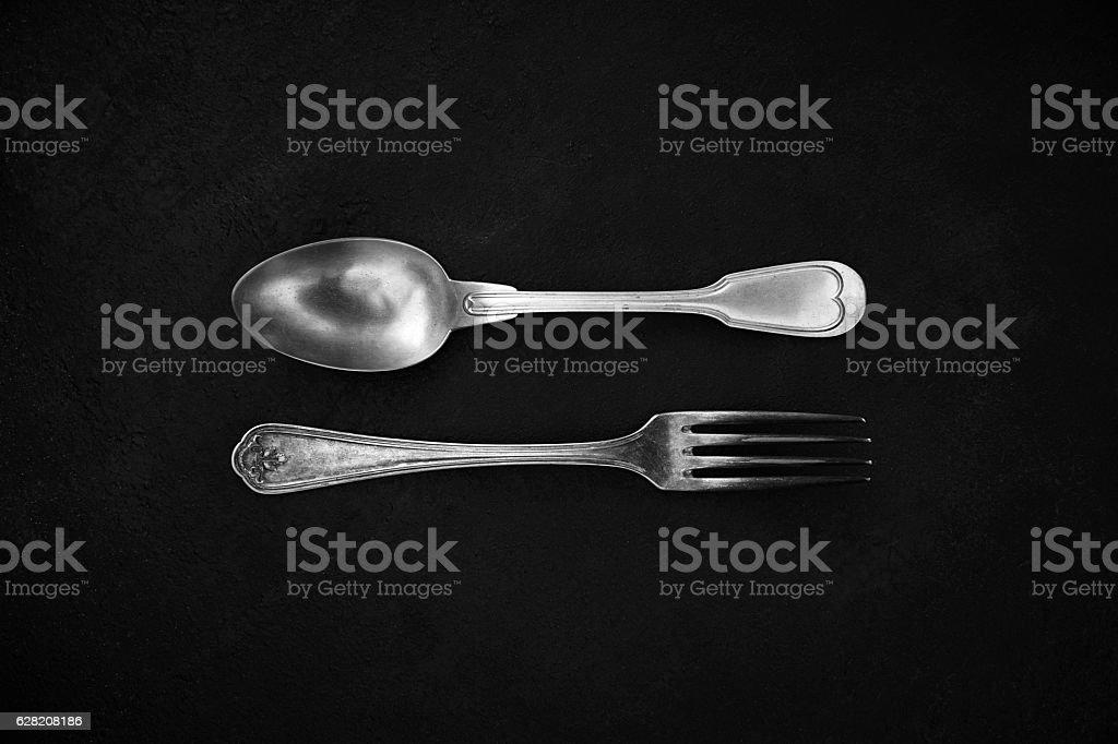 Silver cutlery stock photo