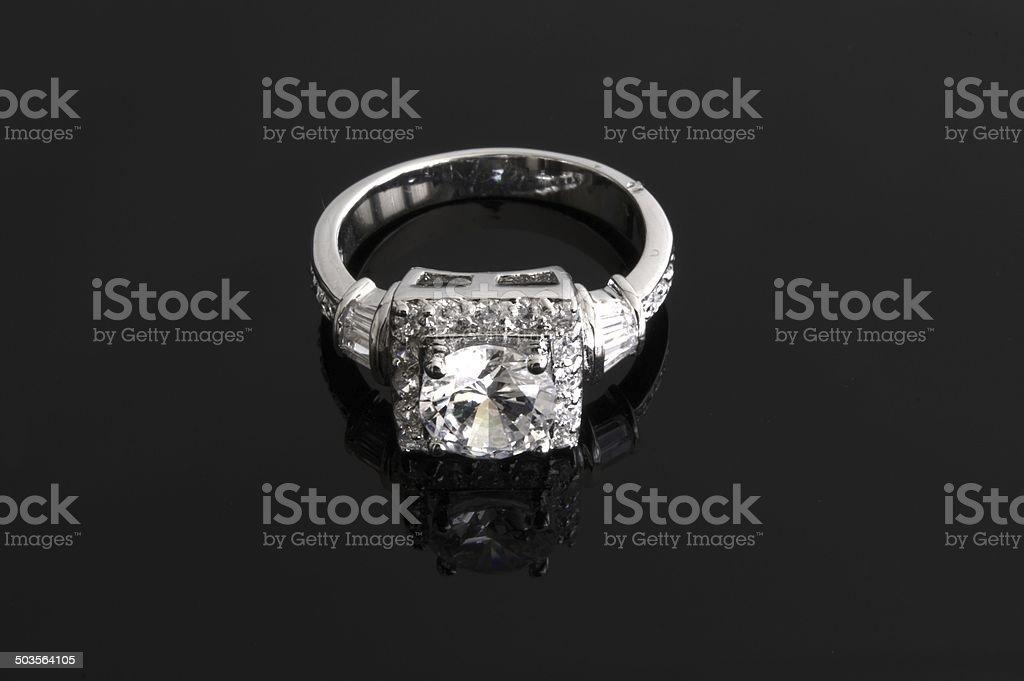 Silver diamond ring royalty-free stock photo