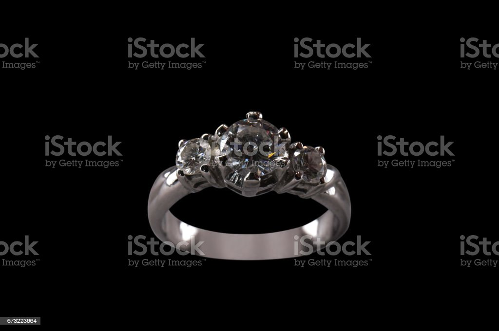 Silver Diamond Ring with Clipping Path on Black Background stock photo