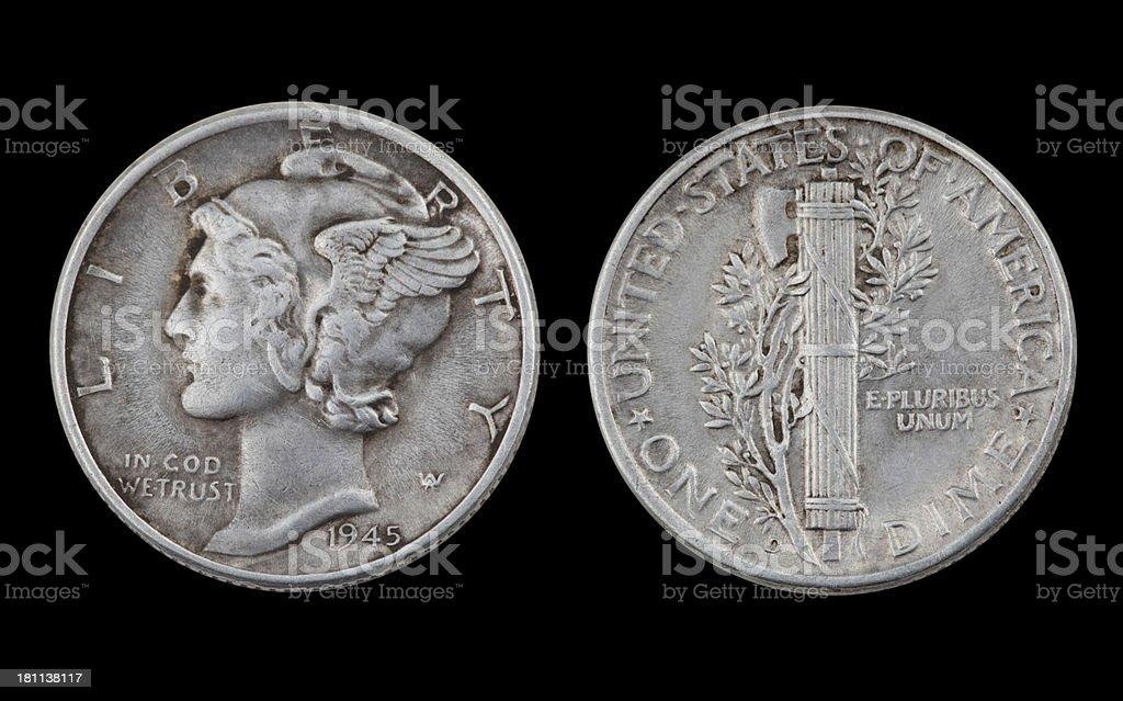 Silver Dime stock photo