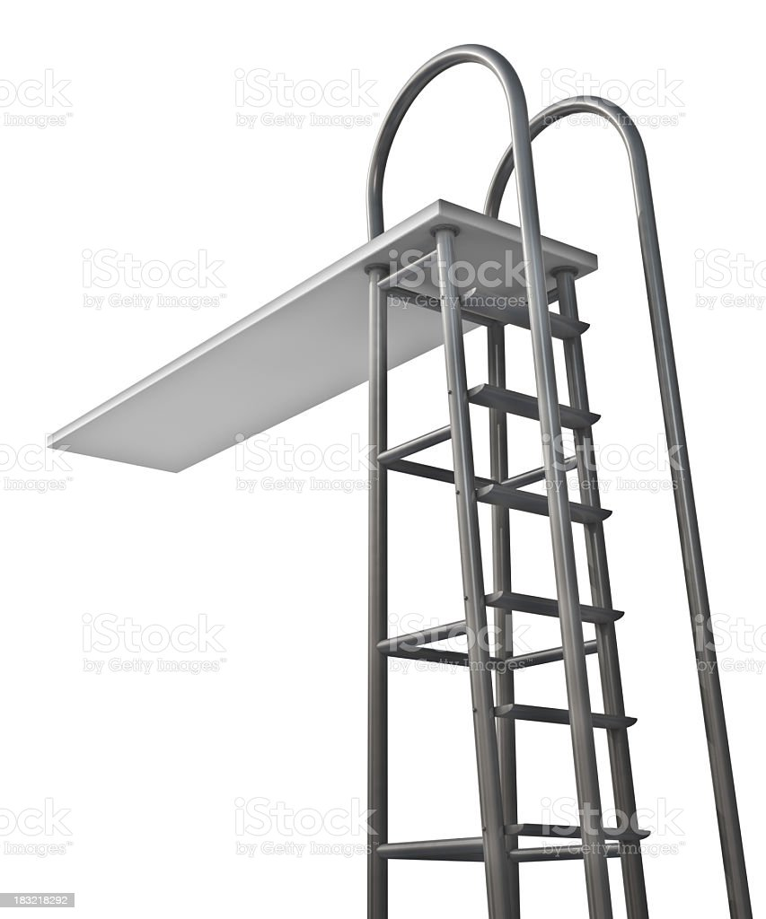 Silver diving board with ladder stock photo