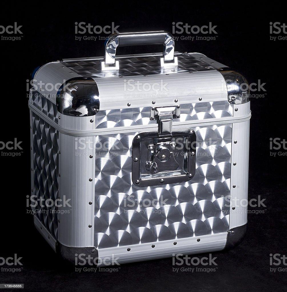 Silver DJ flight case stock photo