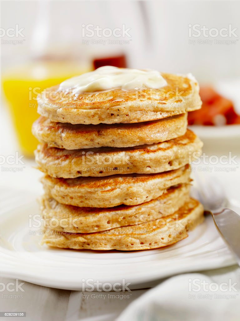 Silver Dollar Pancakes with Maple Syrup stock photo