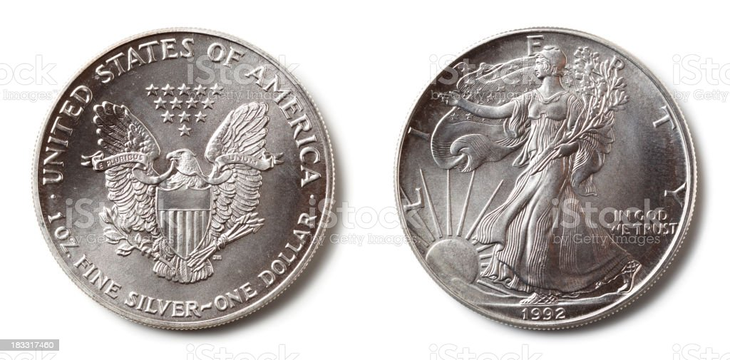 US Silver Dollar stock photo
