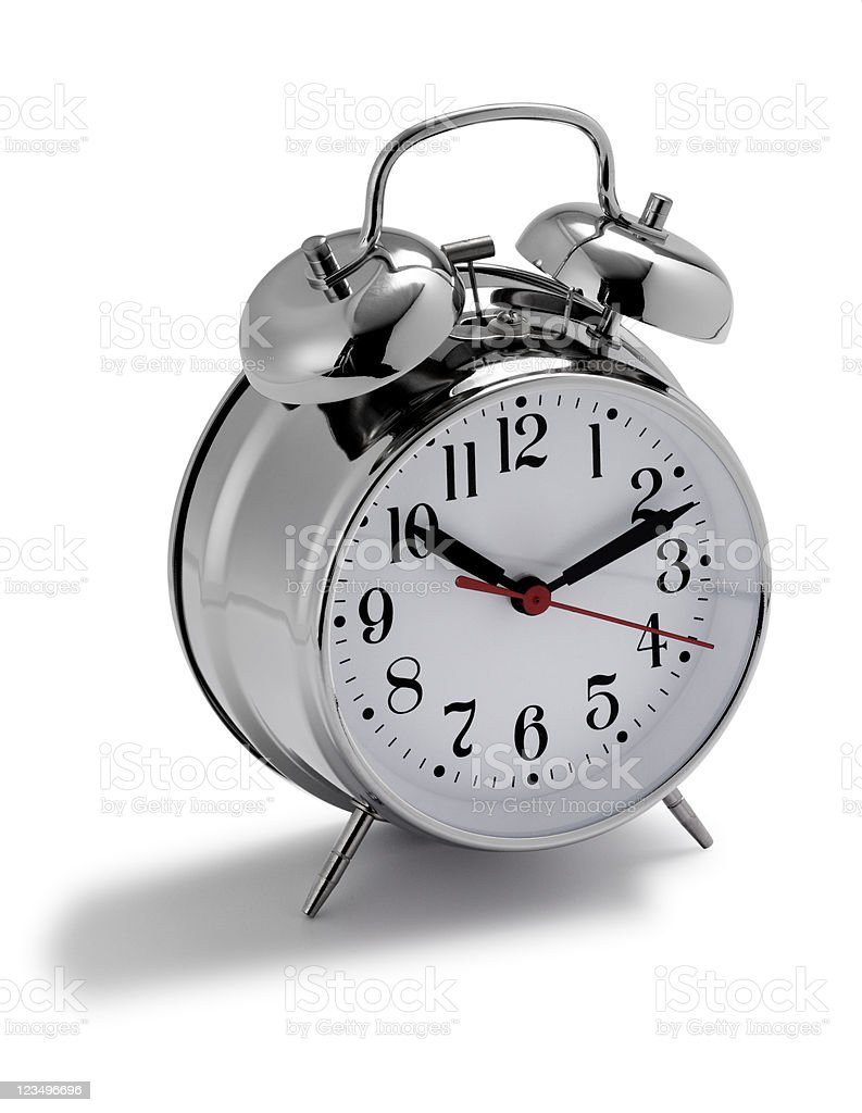 Silver double bell alarm clock stock photo