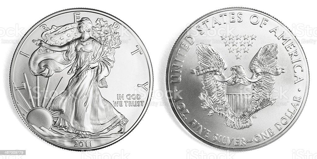 Silver Eagle Coin royalty-free stock photo