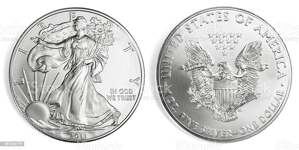 Silver Eagle Coin stock photo