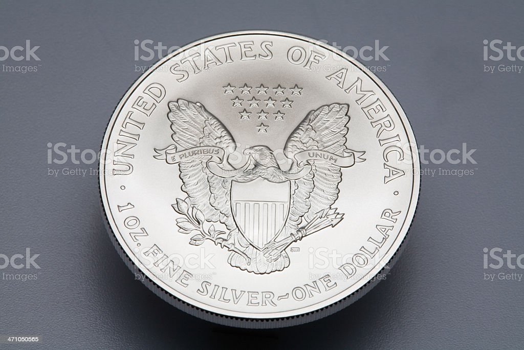 Silver Eagle one Dollar Coin-Reverse stock photo