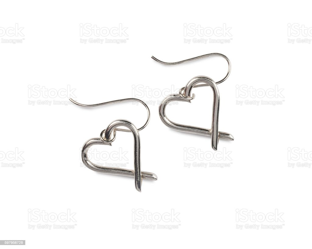 Silver Earings stock photo