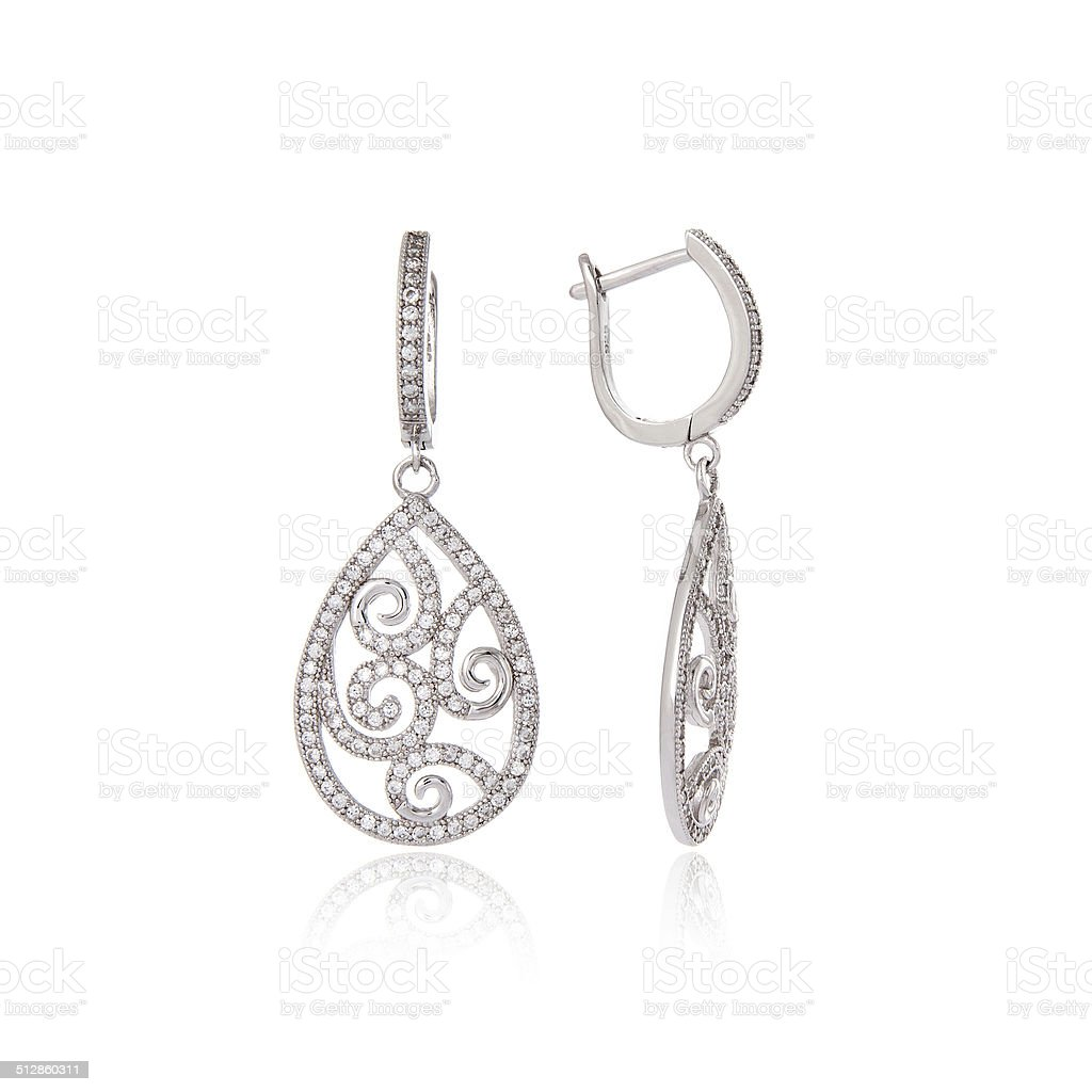 Silver earrings stock photo