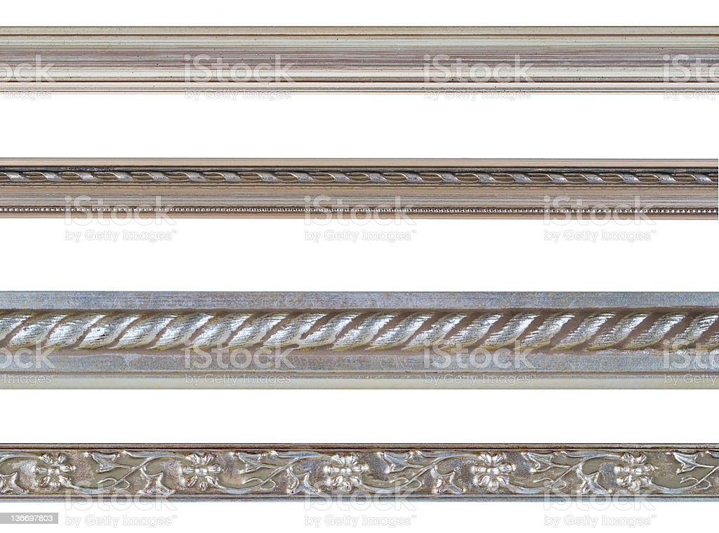 Silver Edge and Border Design Element Assortment, White Isolated stock photo