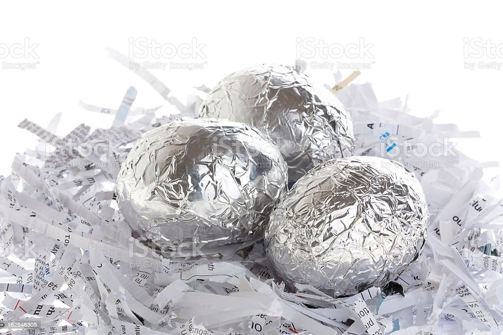 Silver eggs on a nest royalty-free stock photo