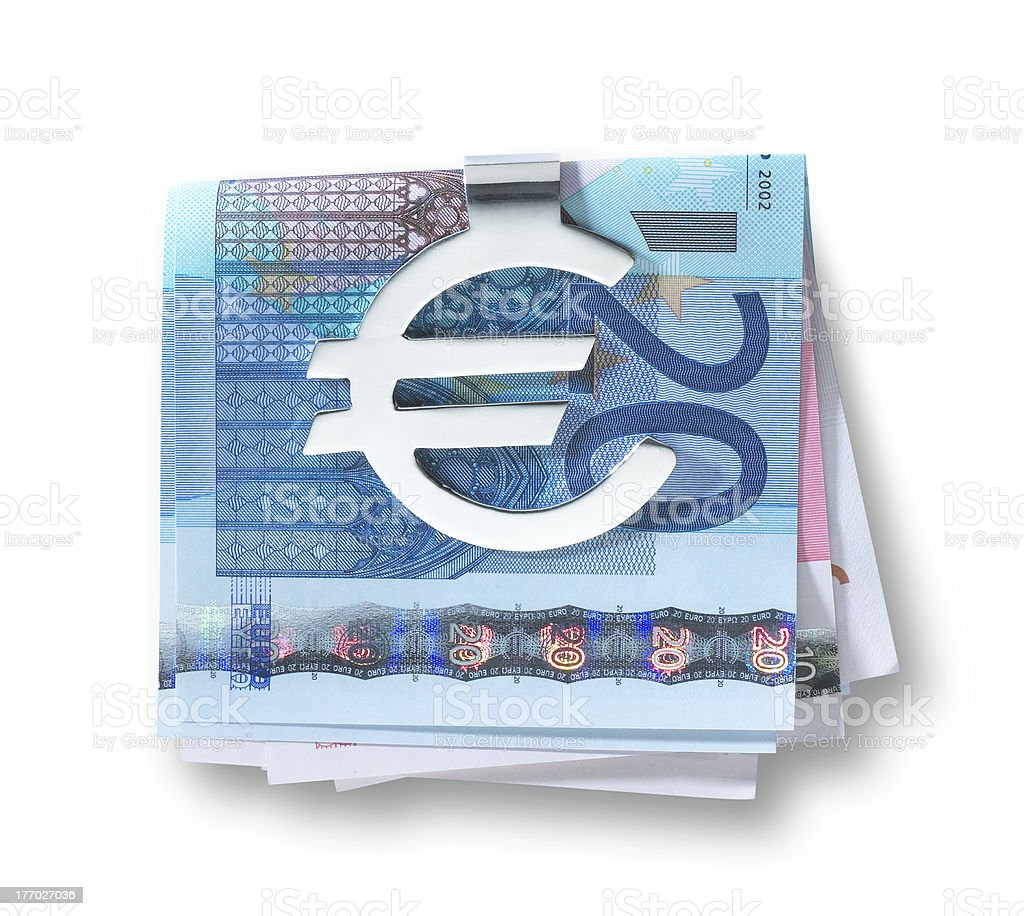 silver euro money clip  and folded euros with clipping path stock photo
