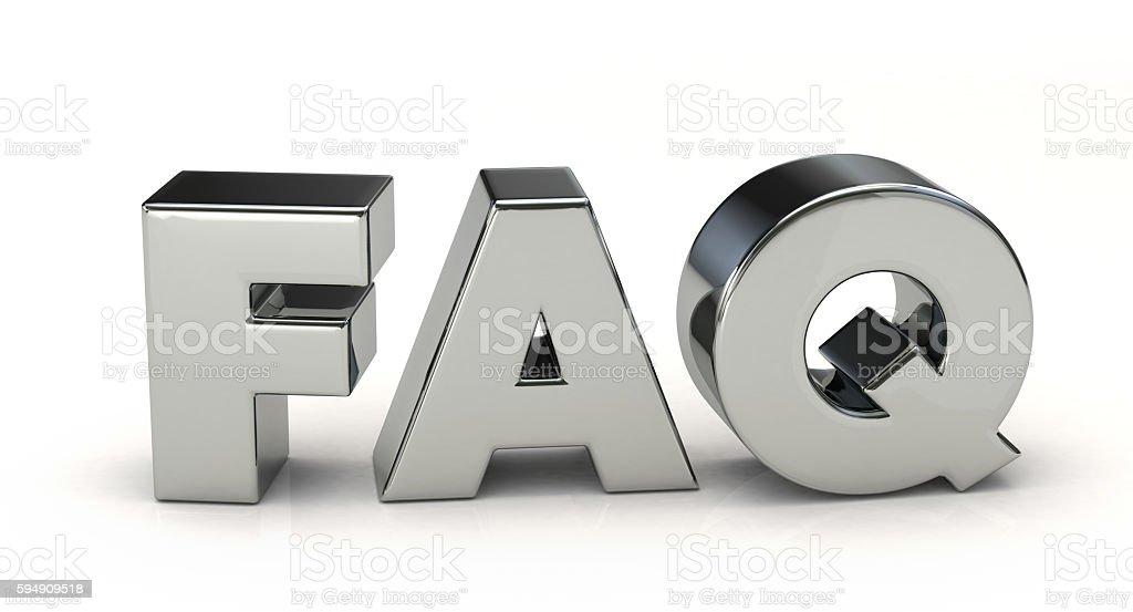 silver FAQ. 3D illustration stock photo