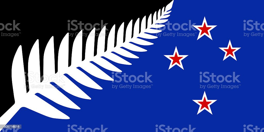 Silver Fern national flag of New Zealand stock photo